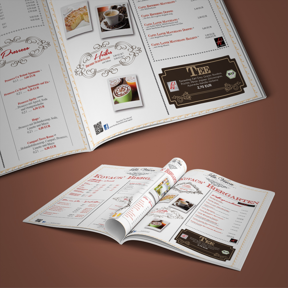 Kovacs Biergarten-Karte 16-Seiter / Design & Print