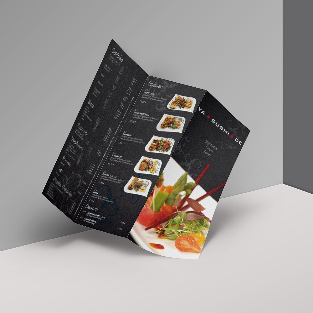 YaSushi 6-Seiter Speisekarte / Design & Print